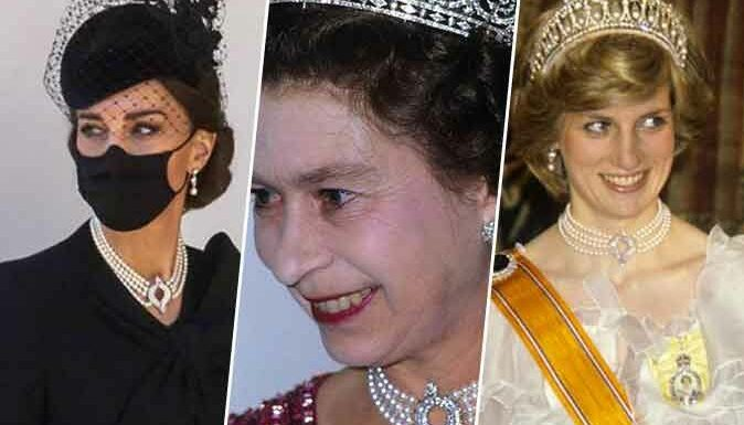 Photos – Kate Middleton : on a retrouvé ses bijoux, portés par Elizabeth II et Lady Diana !