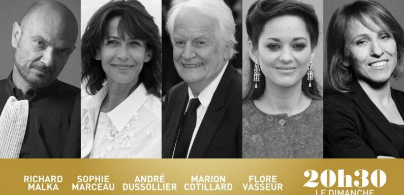 """""""20h30 le dimanche"""" avec Richard Malka, Sophie Marceau, André Dussolier, Marion Cotillard et Flore Vasseur"""